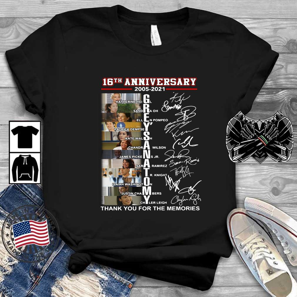 16th anniversary 2005-2021 Grey_s Anatomy thank you for the memories signatures shirt