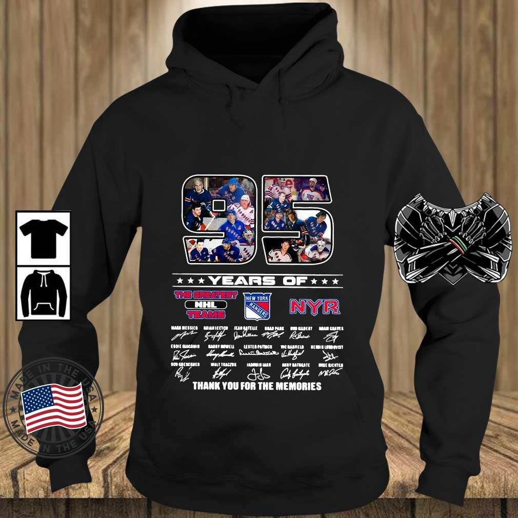 Funny 95 years of NYR the greatest NHL teams thank you for the memories signatures s Teechalla hoodie den