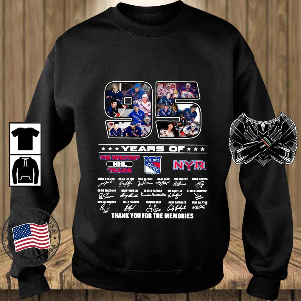 Funny 95 years of NYR the greatest NHL teams thank you for the memories signatures s Teechalla sweater den