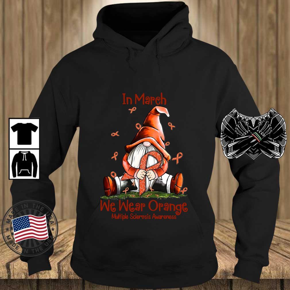 Gnome hug breast cancer in march we wear orange multiple sclerosis awareness s Teechalla hoodie den