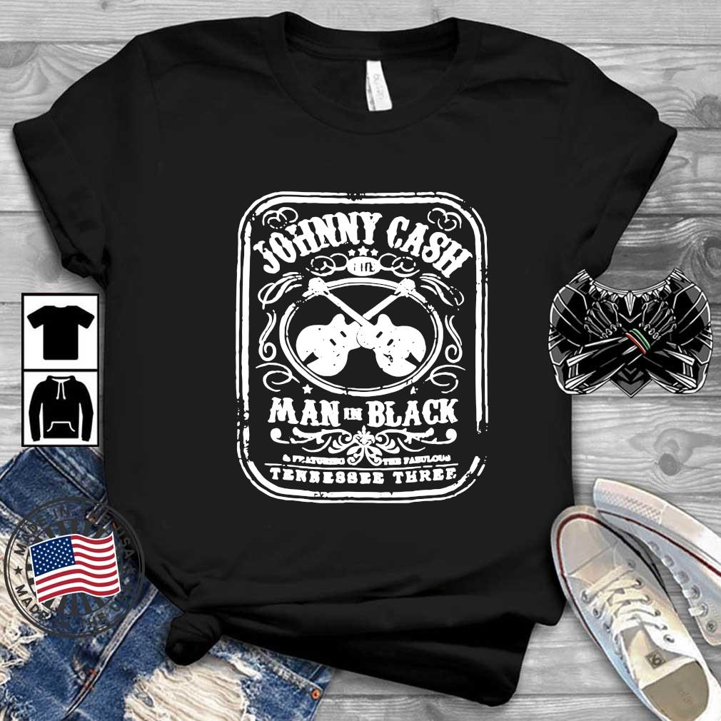 Johnny Cash man in black tennessee three guitar shirt