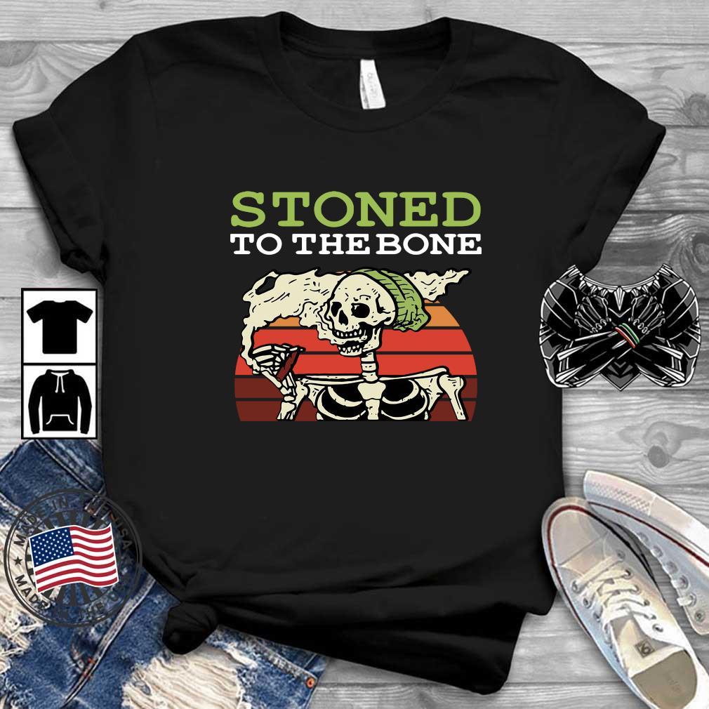 Skeleton stoned to the bone vintage sunset shirt