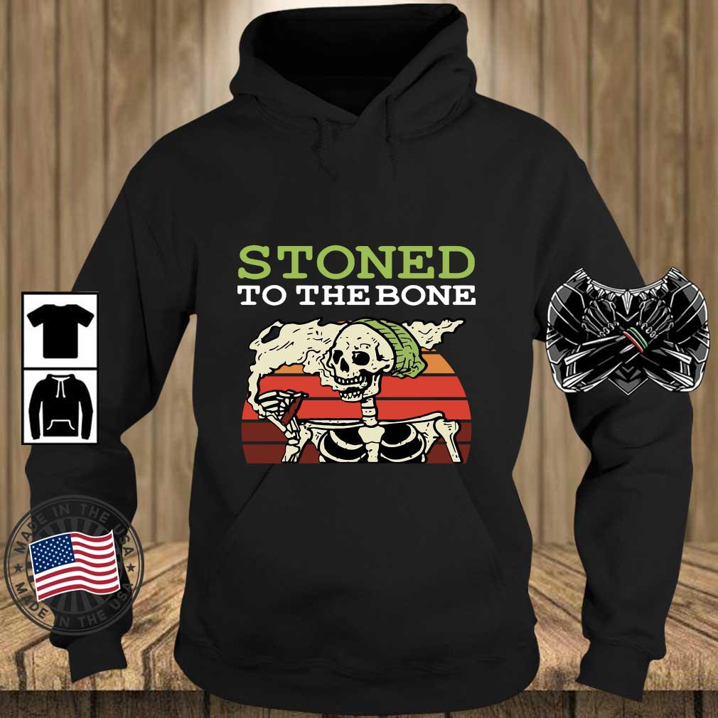 Skeleton stoned to the bone vintage sunset s Teechalla hoodie den