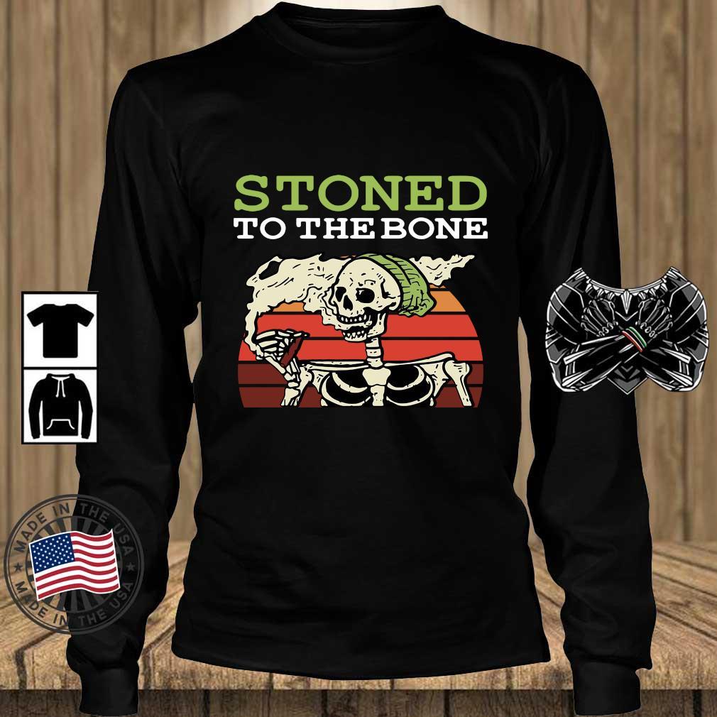 Skeleton stoned to the bone vintage sunset s Teechalla longsleeve den