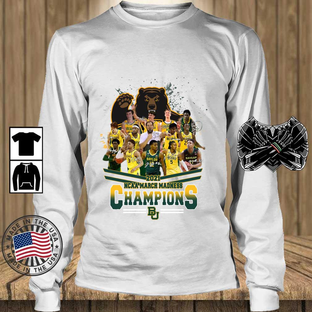 2021 NCAA March Madness Champions Baylor University Signatures s Teechalla longsleeve trang