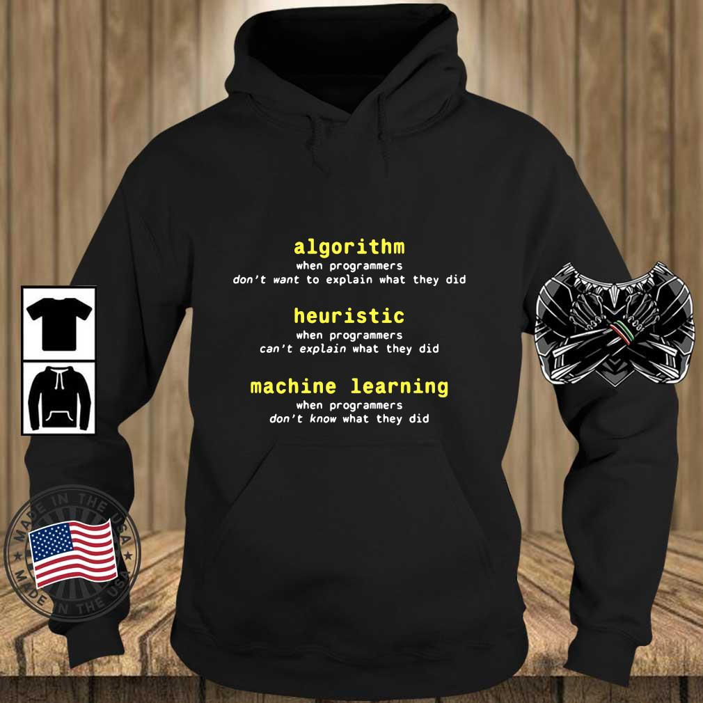 Algorithm Heuristic Machine Learning Shirt Teechalla hoodie den
