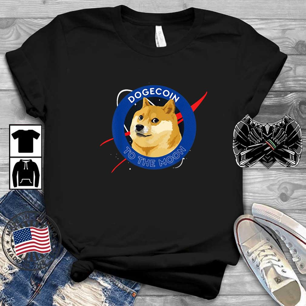 Dogecoin to the Moon Cool Doge Coin Crypto Currency Shirt
