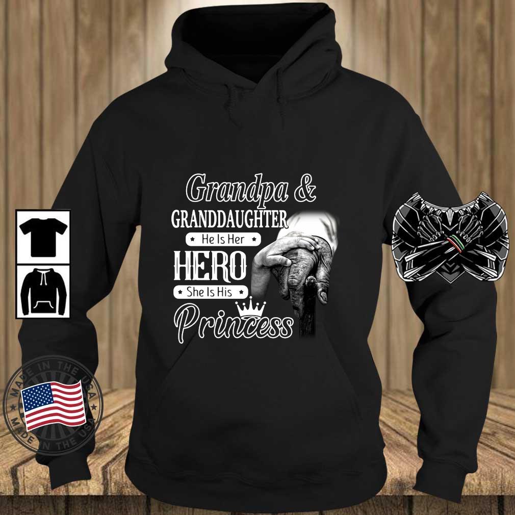 Grandpa And Granddaughter He Is Her Hero She Is His Princess Shirt Teechalla hoodie den