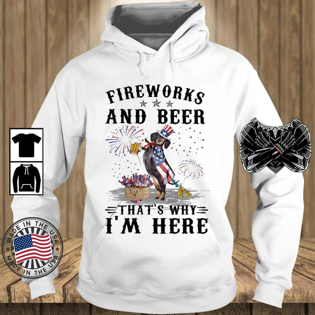 Dachshund fireworks and beer that's why I'm here 4th Of July s Teechalla hoodie trang