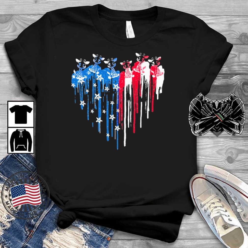 Giraffe heart American flag 4th Of July shirt