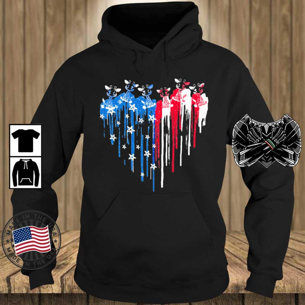 Giraffe heart American flag 4th Of July s Teechalla hoodie den