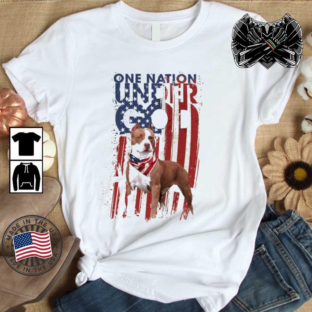 Pitbull one nation under god American flag 4th Of July shirt