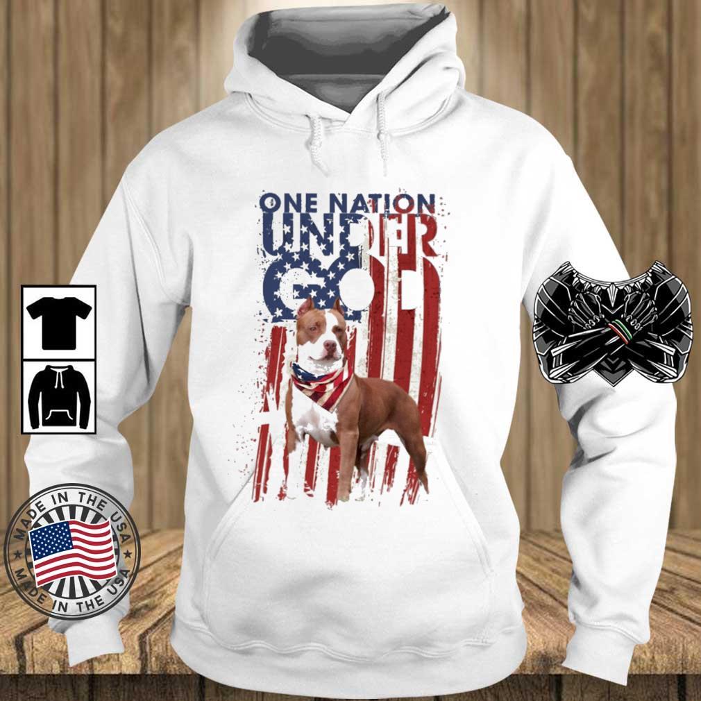 Pitbull one nation under god American flag 4th Of July s Teechalla hoodie trang