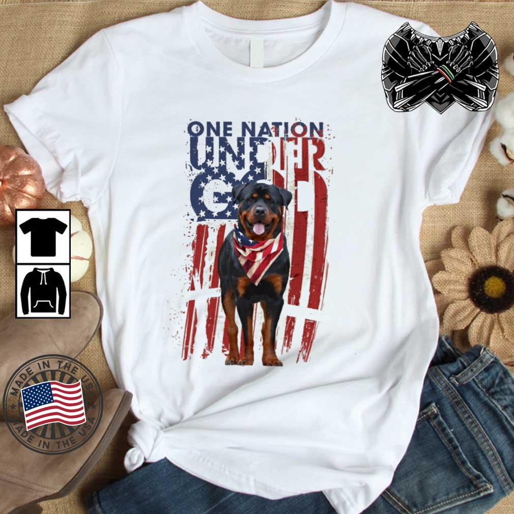Rottweiler one nation under god American flag 4th Of July shirt