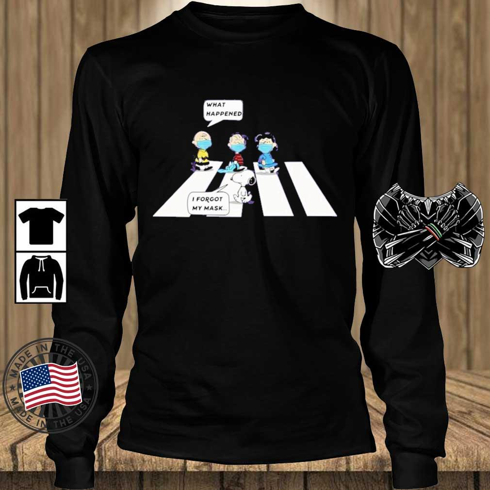 Peanut Charlie Brown What Happened Snoopy I Forgot My Mask Shirt Teechalla longsleeve den
