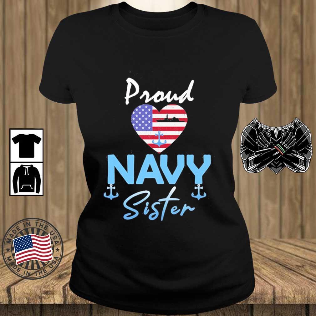 Proud Navy sister Heart American flag s Teechalla ladies den